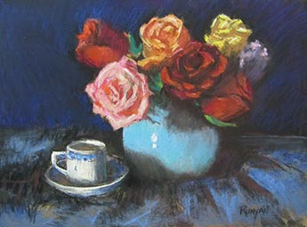 Delft Demitasse and Roses - Doug Runyan